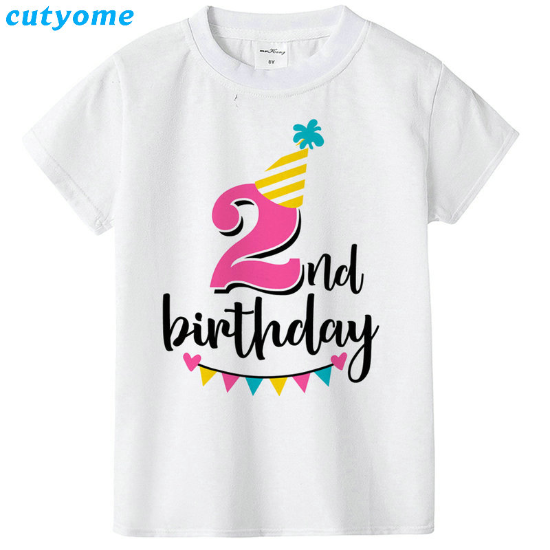 Summer Baby T Shirt Tops Children's Clothing Happy Birthday Girls Boys Short Sleeve Kids Clothes Tee Girls Boys' T-shirts Casual (42)