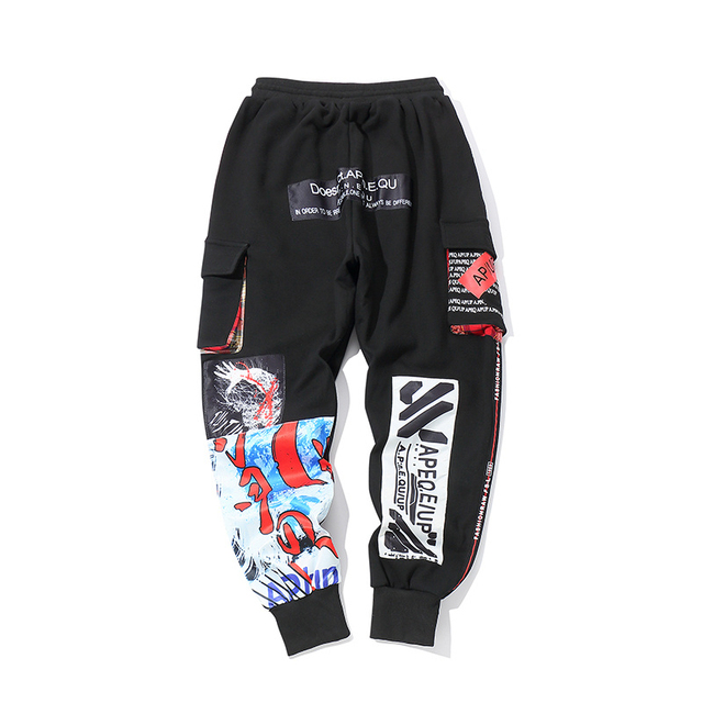 Hip Hop Pants Men Cotton Pattern Joggers