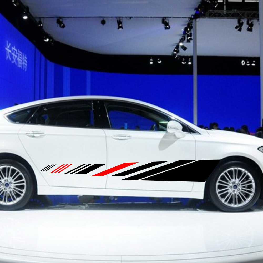 Blue car sticker design - Car Dual Racing Stripes Vinyl Side Decal Body Stickers Stripe For Mondeo 1055 China