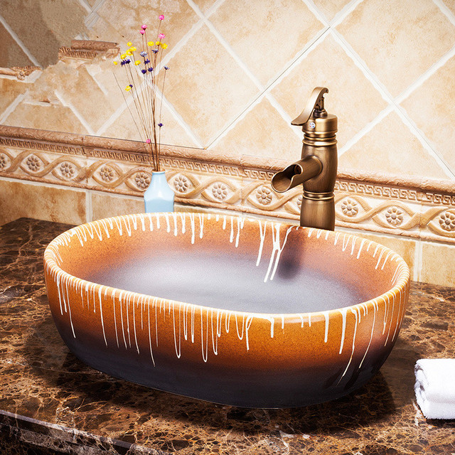 Exceptional Oval Rectanglar Washbasin Luxurious Artistic Wash Basin Bathroom Sink  Bathroom Vessel Sinks