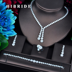 Image 1 - HIBRIDE New Design Gold Color Bridal Dubai Jewelry Sets For Women Wedding Accessories Party Gifts N 734