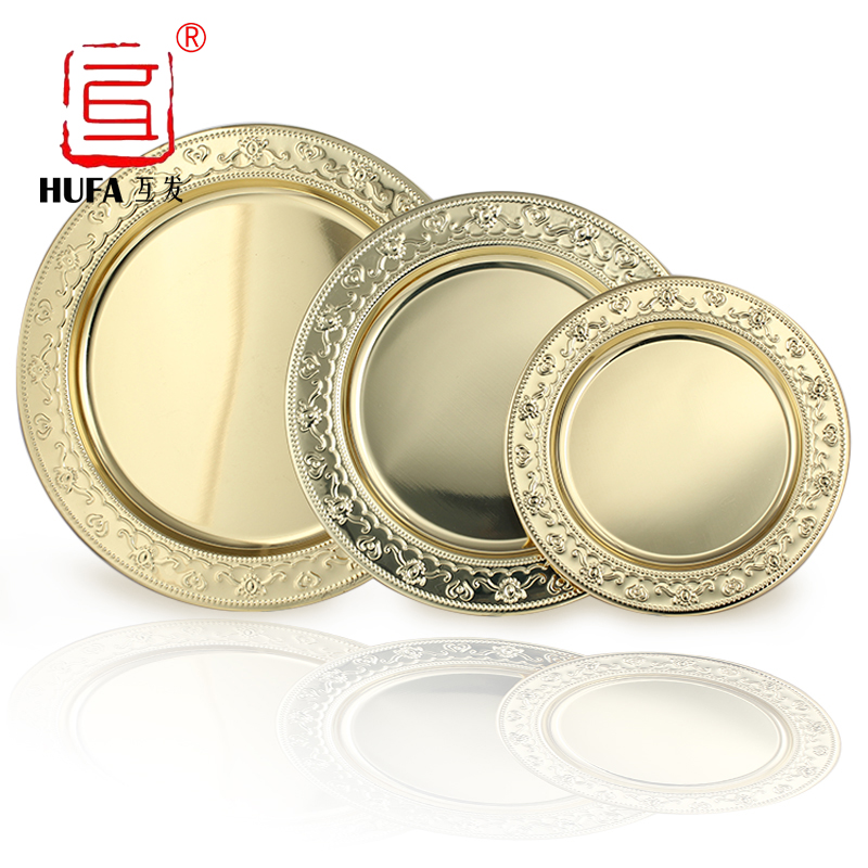 24cm,30cm, 35cm, 40cm stainless steel golden round dish plate/gold serving tray/big fruit plate/platos dorados/metal tray ...