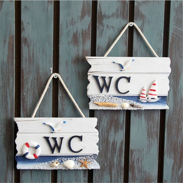 Door Decoration WC Brand Two Pattern Choice Toilet Sign Handmade ...