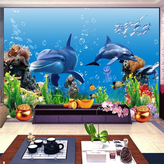 இfoto Wallpaper 3d Stereo Mural Wallpaper Dunia Bawah Laut Ikan