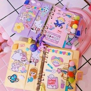 Image 2 - 2020 a6 bonito menina kawaii espiral 6 furos notebook viajantes planejador bolso livro solto folhas binder jornada diário bujo de presente