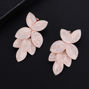 Image 5 - GODKI  Celebrity Favorite Luxury Leaf Leaves Flower Collection Full Micro Cubic Zirconia Paved Wedding Bridal Earring For Women