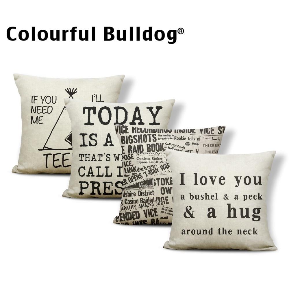 Word Cushion Cover I Love You Coffee Cup Pillowcase Fairy
