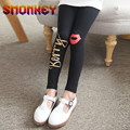 Girls Leggings Autumn Spring Kids Pants Black & White letter lip Print Cotton Skinny Pencil Pants With Elastic Waist 4-14 Years