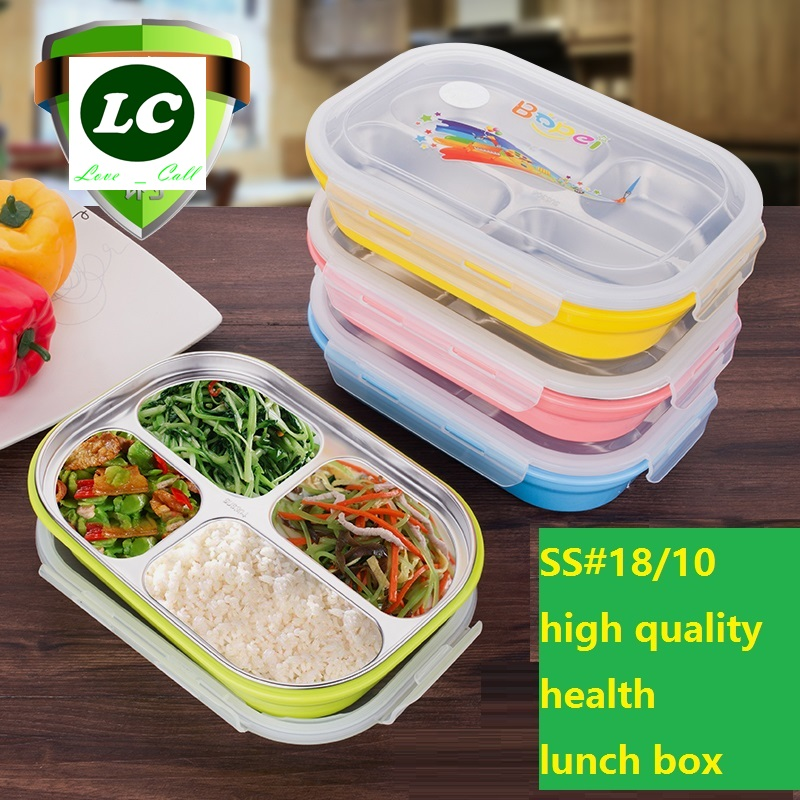 Boîte à lunch #304 boîtes d'isolation en acier inoxydable enfant anti chaude plateau de la restauration rapide 4 grilles