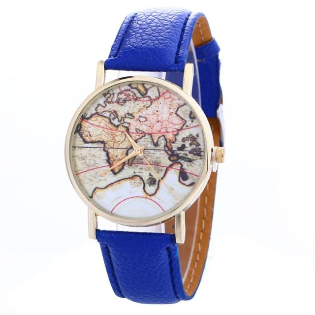 Quartz Wristwatches Women's Watches  Creative Map Pattern    Reloj Mujer Leather Strap Belt  Fashion Casual  Watch  17DEC22