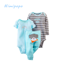 HIMIPOPO New Baby Children Kids Original Bodysuit Set Clothing Set Newborn Baby Boy Romper+Long Pants 3pcs Infant Clothes Set