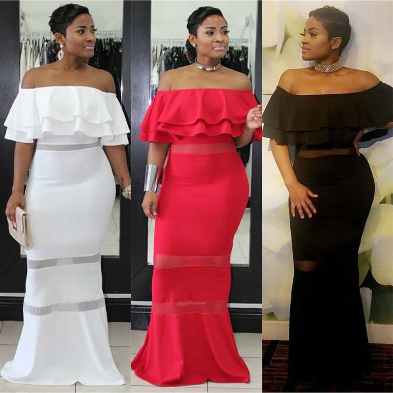 African Clothing Sexy Elegant Ruffle Off Shoulder Backless Maxi Dress Bodycon Long Pencil Solid Color Formal Party