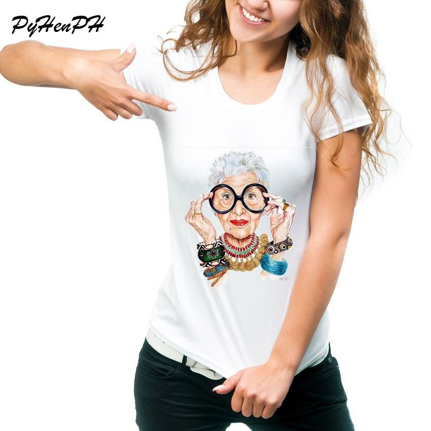 Nouveau 2018 T shirt Femmes IRIS APFEL T-shirt Vogue Style o-cou À Manches Courtes Coréenne Tops Pour Femmes Kawaii T-shirt femmes chemises