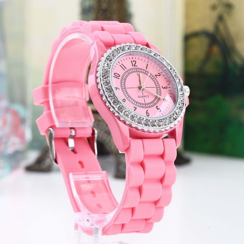 Silicone Crystal Quartz Ladies Grils Jelly Wrist Watch Stylish Fashion Luxury Gifts