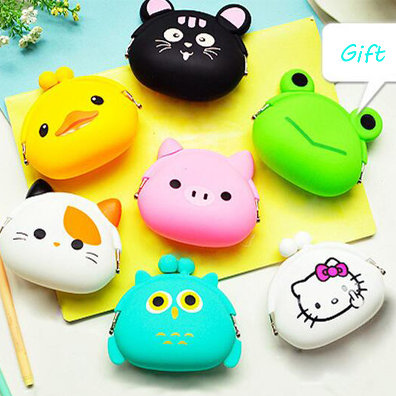 2017 New Fashion Animals Girls Silicone Small Mini Change Women Key Wallet Coin Purses Earphone kawaii Bag Children Kids Gifts