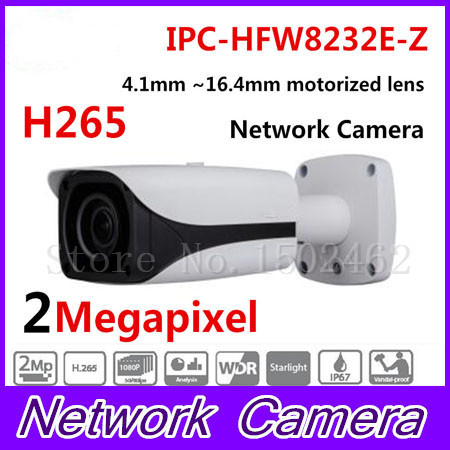 цена на New Arrived CCTV IP Camera 2MP FULL HD Starlight IR Bullet Network Camera IP67 IK10 With PoE Without Logo IPC-HFW8232E-Z