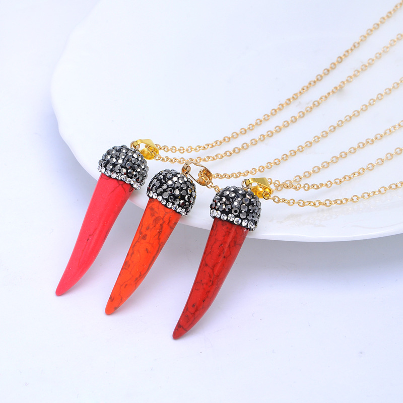 2019 New Natural Stone Chili Necklace Transparent Colorful Crystal Pendant Necklace Bohemian Quartz Stone Necklaces for Women in Chain Necklaces from Jewelry Accessories