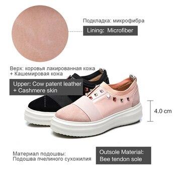 Chaussures Compensées Noires | Donna-in Femmes Appartements Creepers Plate-forme Chaussures En Cuir Véritable Sans Lacet Strass Décontracté Femmes Chaussures Bout Rond Rose Noir