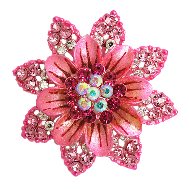 Oneckoha alloy enameled pink flower brooch pin high quality crystal oneckoha alloy enameled pink flower brooch pin high quality crystal brooches mightylinksfo