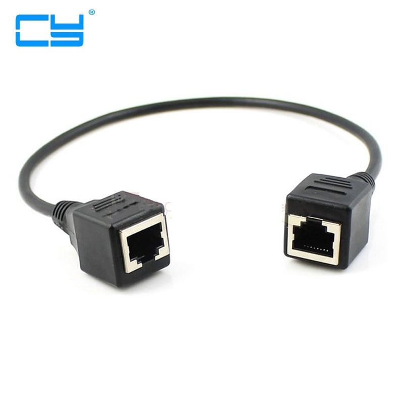 1FT 30 cm 8P8C FTP STP UTP Cat 5e Femea para Femea Cabo de Extensao de Rede Ethernet Lan Patch Cord