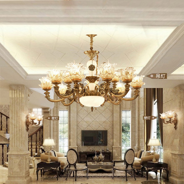European Crystal Chandelier Living Room Decoration Home Lighting Luxury  Glass Chandeliers Hotel Hanging Lights Indoor Wall