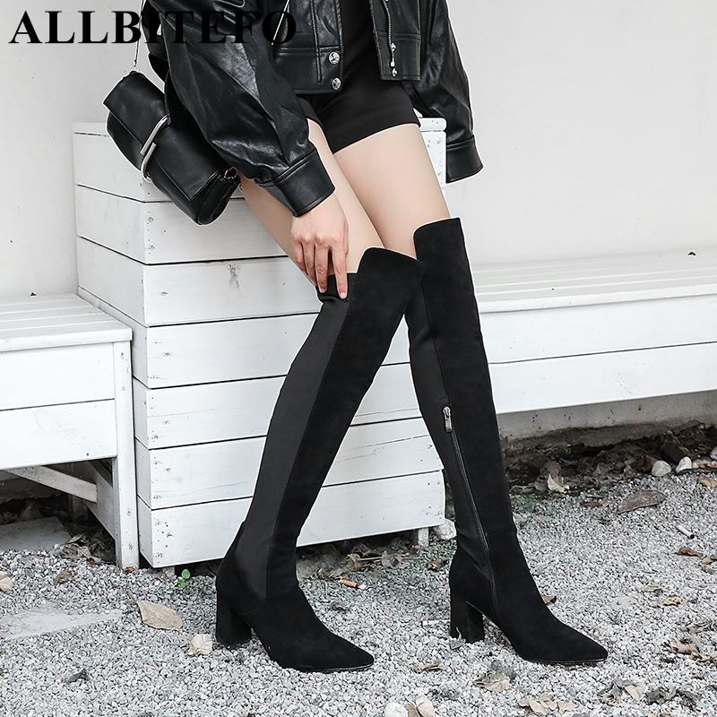 ALLBITEFO hot sale flock pointed toe thick heel over the knee high boots fashion brand high heels women boots long girls shoes hot sale handmade flock black over the knee fashion boots pointed toe zip women boots square heels shoes woman