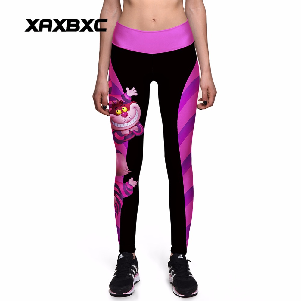 NEW 0010 Sexy Girl Women Alice in Wonderland Cheshire cat 3D Prints High Waist Workout Fitness Women Leggings Jogger Pants