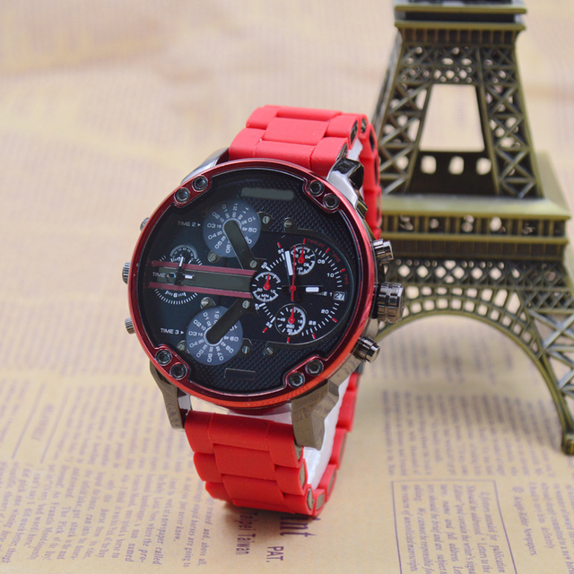 f86f6064a0 Extravagant Brand Male Movement Quartz Watch Red Rubber Strap Multi-function  Two Time Zone Military Sports Watch Automatic Date