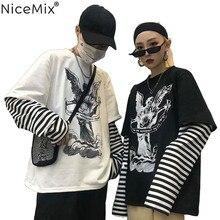 NiceMix Spring Harajuku Tshirt Women Patchworked Print Gothic Long Sleeve T-Shirt Korean Clothes Sudadera Para Mujer