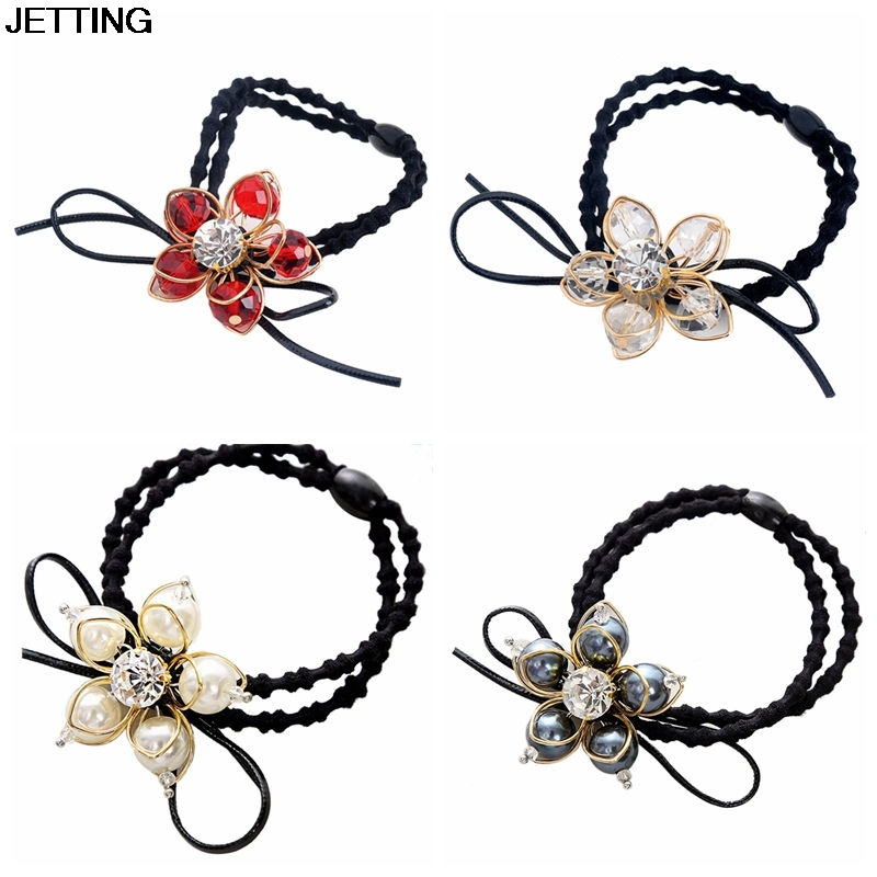 1PC Women Scrunchy Flower Scrunchy Crystal Materail Elastic Hair Band Elegant Girls Headwear Lady Hair Accessories