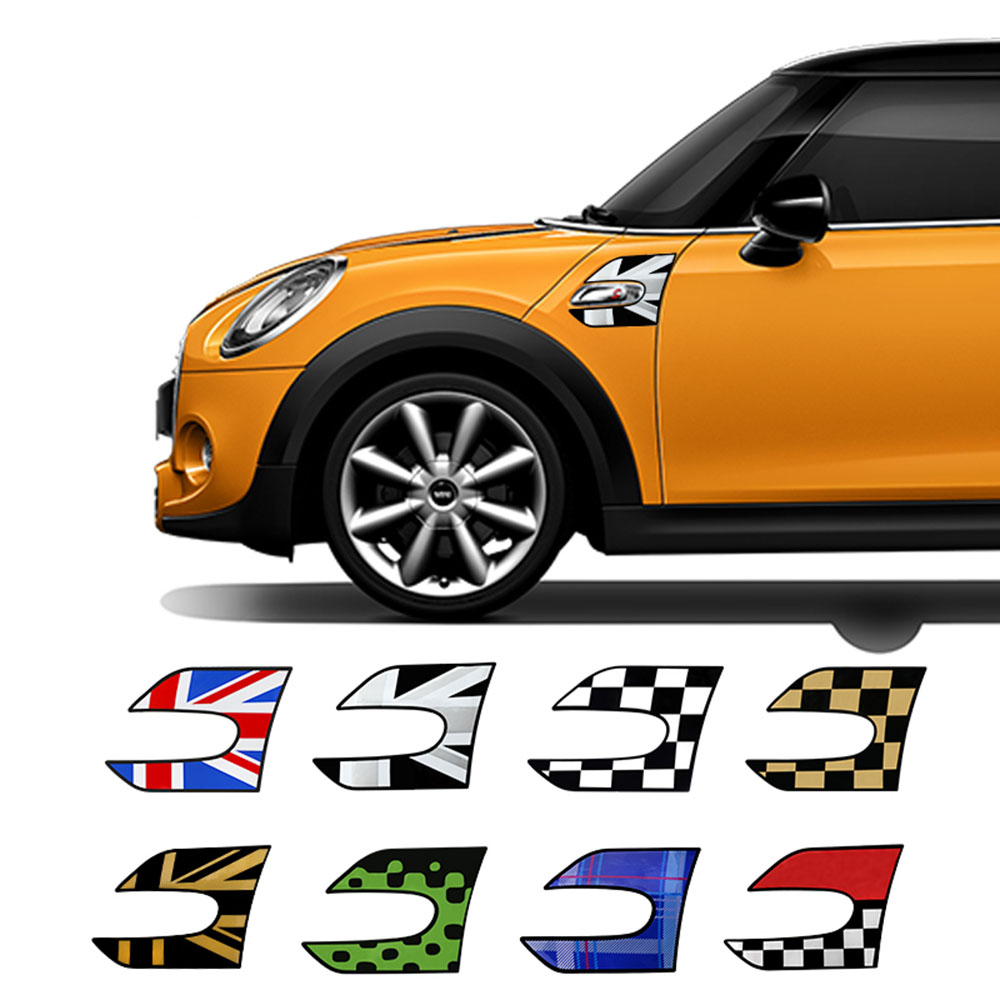 2pcs Car Wing Fender Stickers Section Side Scuttles Decals For Mini Cooper S One JCW F55 F56 Car Styling Auto Accessories
