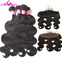 Ali coco Peruvian Body Wave Ear to Ear Lace Frontal Closure With Bundles 4 Pcs/lot 100% Human Hair Extensions With Lace Frontal
