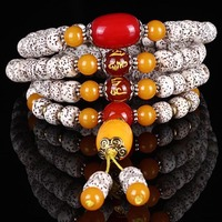 Tibetan original pure manual the bodhi 108 hand string bracelet with the leaves A + the bodhi child bracelet lovers day