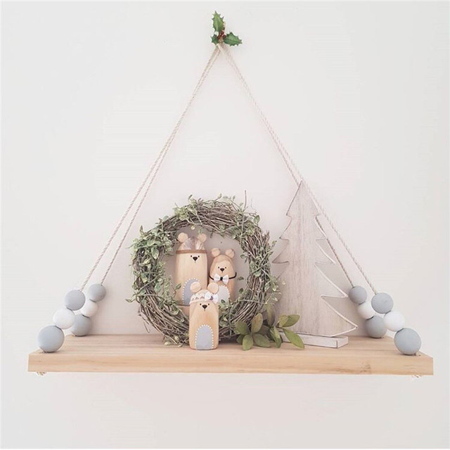Us 18 15 25 Off Simple Baby Room Wooden Beads Shelf Storage Wall Decorations Candy Organization Hanger Photography Props Shelves Storage Decor In