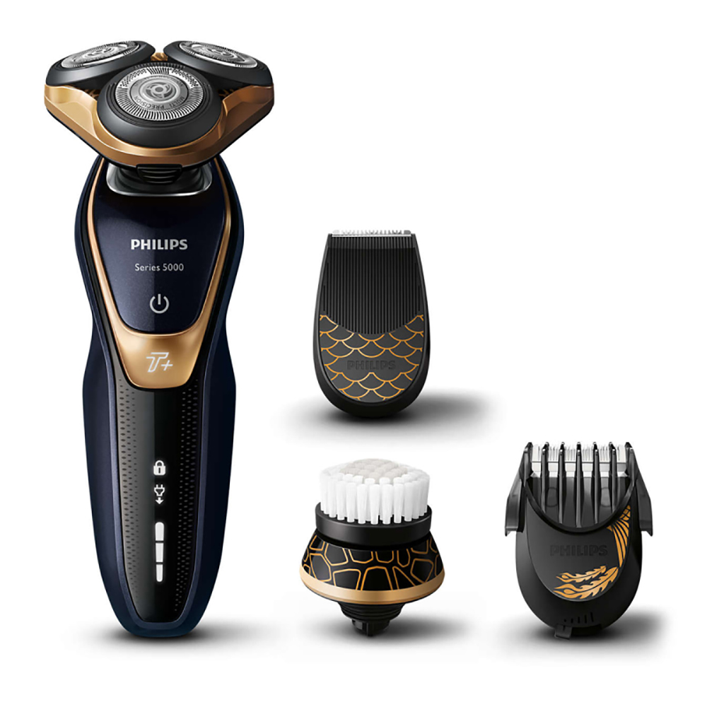 Philips Shaver Series 5000 S5571/68 Wet and Dry Electric Shaver Rechargable MultiPrecision Blade System,5-way Flex shaving head image