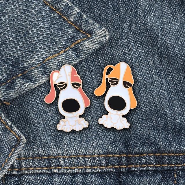 2 Pc/set Hewan Bros Pin Logam Bata Merah Kuning Anjing Lencana Jaket Denim Bros Beberapa Dekorasi Kartun Perhiasan Grosir