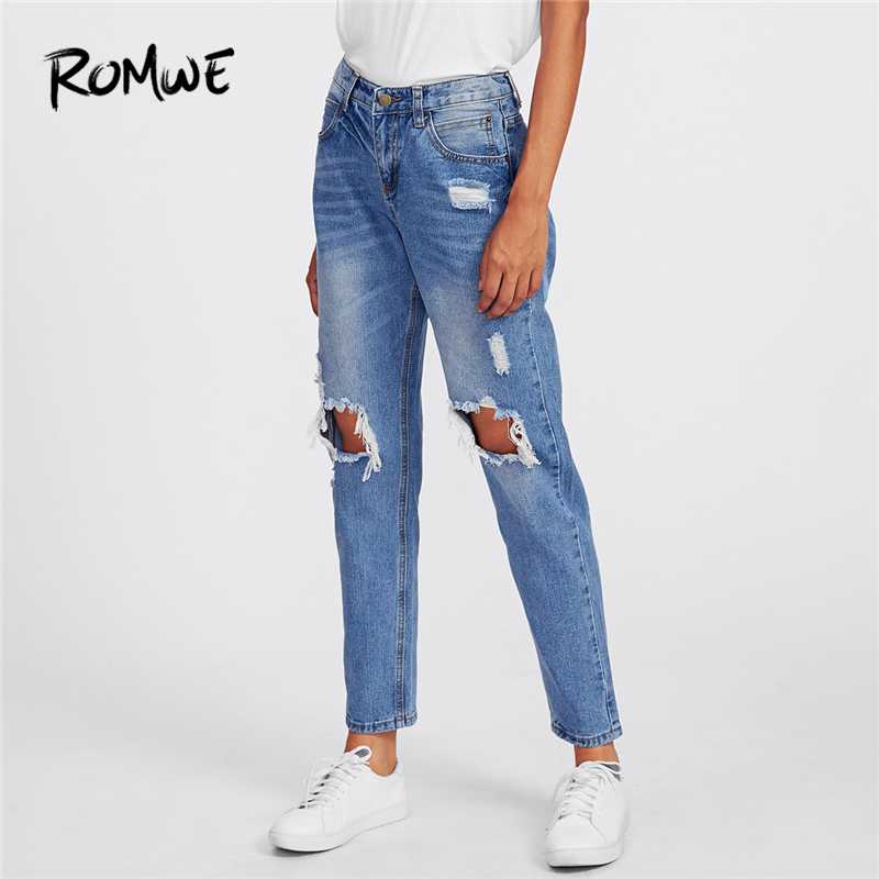 ROMWE Blue Ripped Knees Loose Denim   Jeans   Women Casual Autumn Plain Pants Spring Summer Straight Leg Mid Waist Trousers