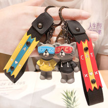 Cute Cartoon Cat KeyChain Porte Clef Women Key Chain Car Trinket Couple key ring  Kids Toy Charms Pendant Fashion Silicone