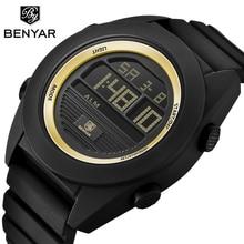 цена BENYAR Brand Sport Gold Watch Men Waterproof LED Digital Stopwatch Alarm Wrist Watch Man Clock Backlight Saat 2018 Montre Homme онлайн в 2017 году