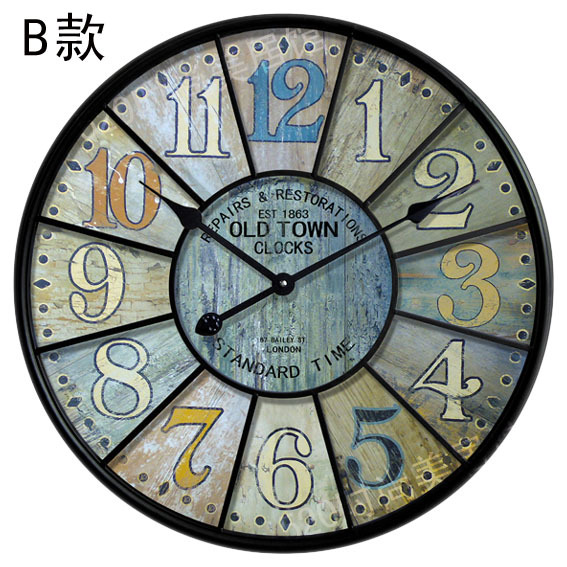 34cm 60cm Vintage Large Decorative Wood Wall Clokcs With Iron Frame Rustic Craft For Home Roman Number Face Decor In Clocks From Garden