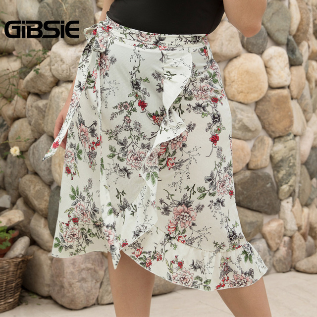 GIBSIE Plus Size Women Knee Length Ruffle Skirt Elegant Floral Print Midi Skrits Womens Summer Casual High Waist Skirt with Belt 1