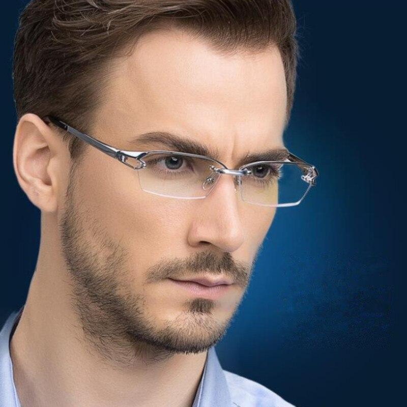 LUXURY PURE TITANIUM Half Rimless Eyeglass Frames Men Women Glasses Myopia Spectacles Rx able Eyewear