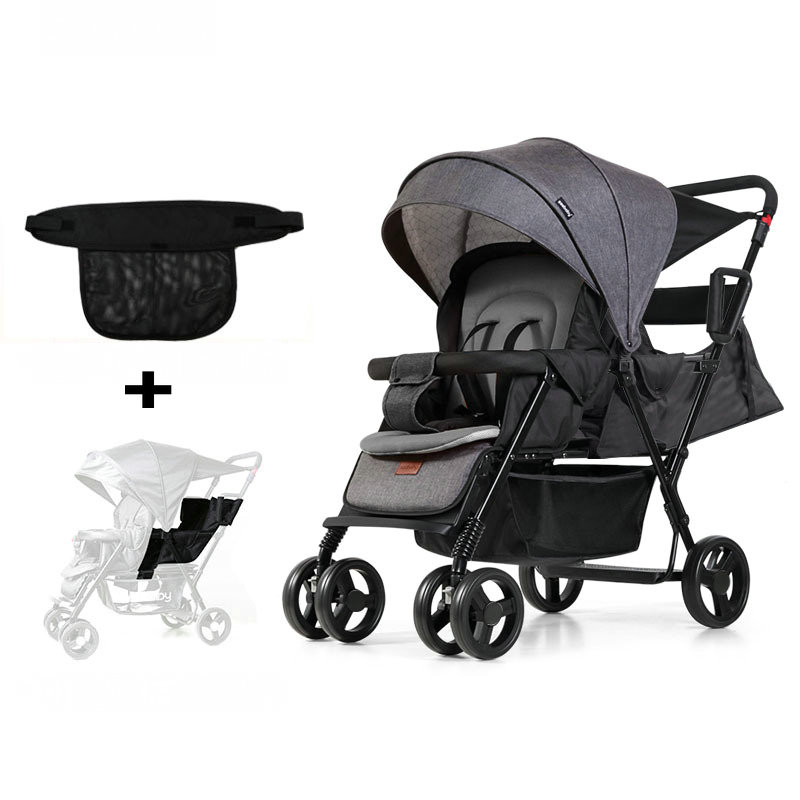 Upgrade Twins Stroller With Extend Back Seat Can Sit Can Lie, Foldable Tandem Stroller, Lightweight 2 Kids Cart