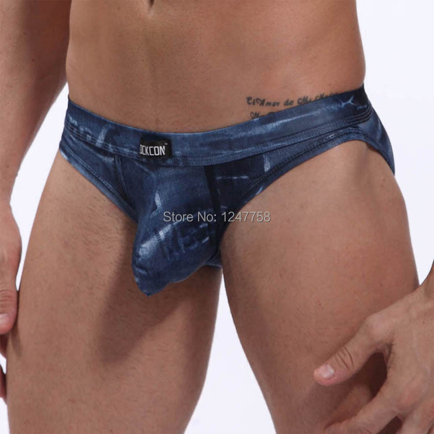 Men Soft Jeans Style Thong Underwear Back Empty Brief Pouch Backless Briefs