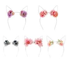 Cute Cat Ears Hair Clips Women Girls Hoop Headband Flowers Ear Hairband Party Headwear Accessories M15