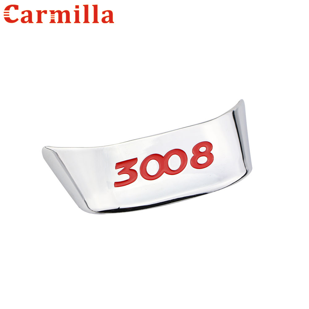 Carmilla Car Styling ABS Plating Steering Wheel Decoration Trim Sticker Case For Peugeot 3008 2014 2015 2016 Car Accessories