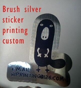 Brush silver sticker label printing custom/black printing