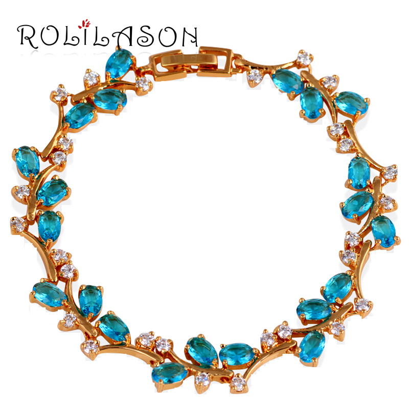 fd31919bb374b ᗑRomantique Style Saphir Zircon Or Jaune Tone Bleu Zircon Bracelets ...