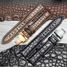 حزام ساعة مصنوع من جلد التمساح الفاخر ذو نهاية عالية حزام استبدال مشبك مزدوج الدفع للساعات الفاخرة 20 22 24 مللي متر