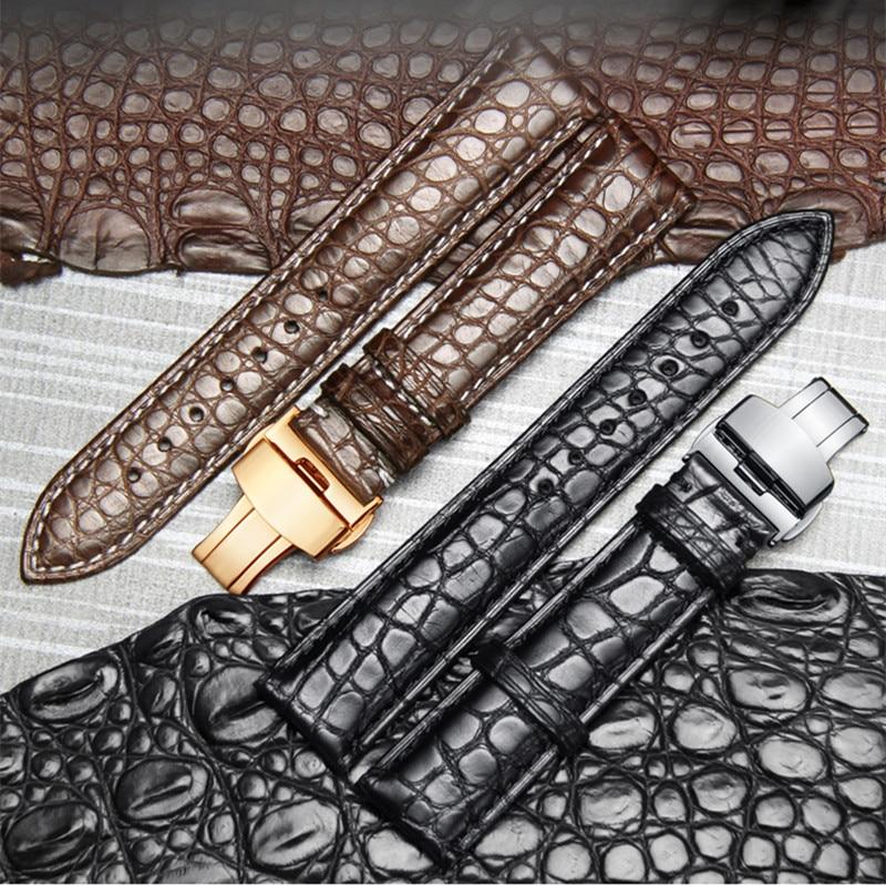 High-end-Krokodil Alligator Leder Uhr Band Strap Ersatz Bereitstellung Doppel-Push-Schnalle für Luxus Uhren 20 22 24mm